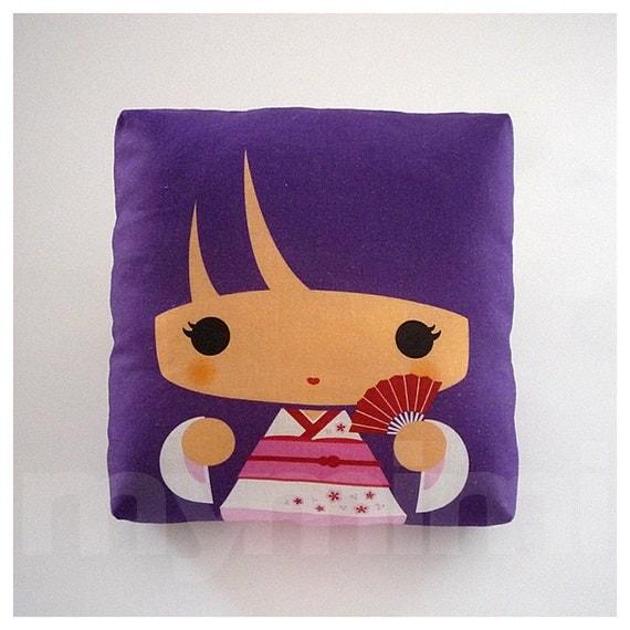 Decorative Pillow, Mini Pillow, Throw Pillow, Kawaii Toy Pillow, Stuffed Doll - Purple Kokeshi Geisha