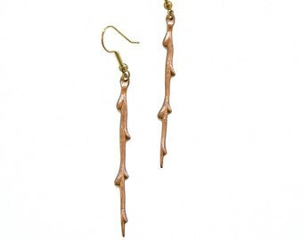 Spring Branch Earrings / Copper Organic Branches / Gift