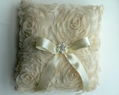 dark ivory / light champagne ring bearer pillow -  chiffon petal flowers with gorgeous pearl & rhinestone button center