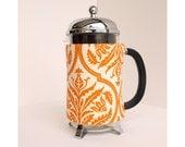The Original French Press Coffee Cozy - Orange Damask Style -