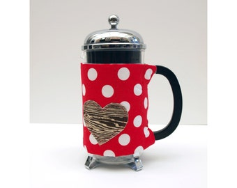 Bodum French Press Coffee Cozy - Polka Dots with a Wooden Heart  Style -