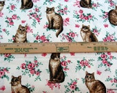 cat print fabric cottage shabby chic fabric 1 yd OOP vintage