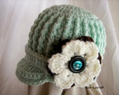 Brimmed Baby Girl Ribbed Beanie-- Custom Made to Order-- You Choose Size and Colors