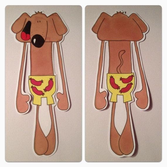 Sausage dog in sausage pants bookmark