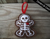 Gingerdead Man Horror Holiday Skeleton Ornament Gift Tag