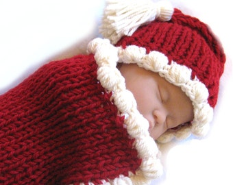 Baby Knitting Pattern - Cocoon Hat Bunting - Fast Easy PDF - Christmas/Valentines Day Gift