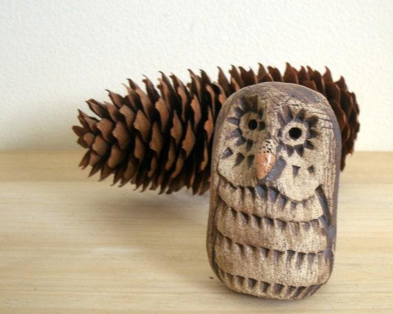 Rustic Woodland Barred Owl Stoneware Sculpture