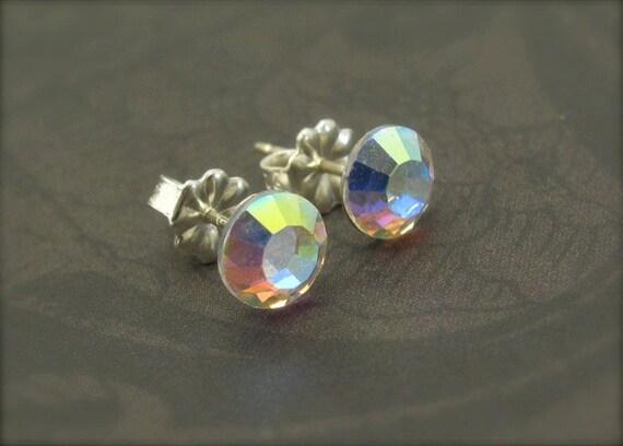 Crystal Post Earrings Swarovski Crystal AB Petite Sterling Silver Post Sparkling Wedding Jewelry Minimal Stud Earrings