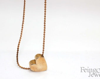 brass heart on brass chain- Necklace - 24 inches - Free US Shipping