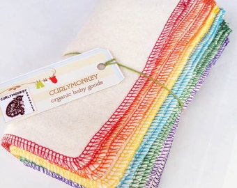 "24 Organic Baby Wipes - Cloth Diaper Wipes - Eco Baby Washcloths - Hemp Organic Cotton Fleece. 7"" square. Rainbow"