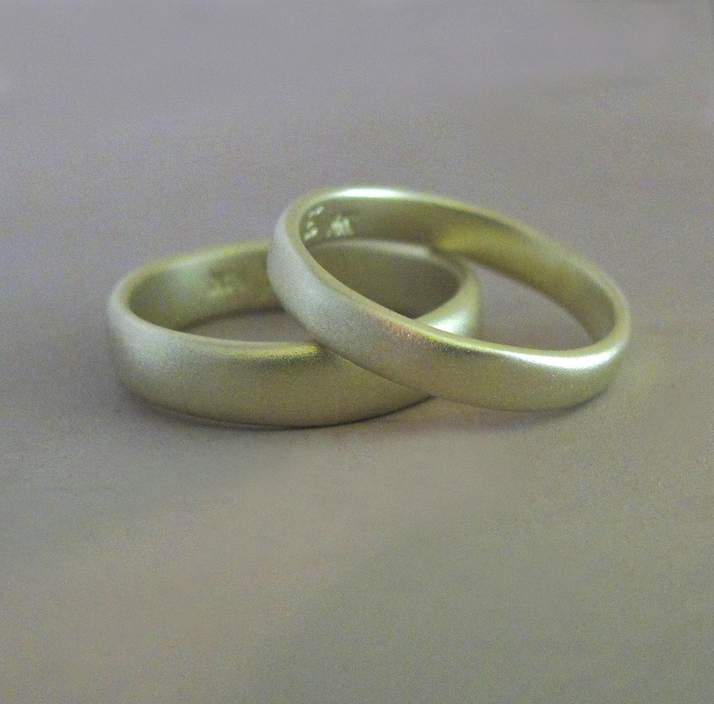 River Wedding Ring in 14k Green Gold Organic Shape Matte