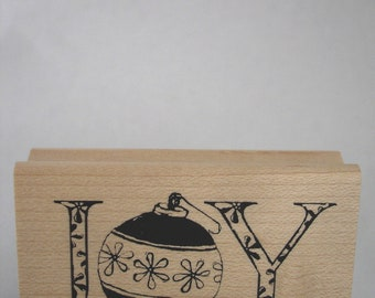 joy with ornament O rubber stamp