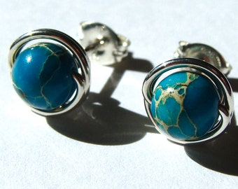 Sediment Jasper Studs 8mm Aqua Terra Jasper Post Earrings Wire Wrapped in Sterling Silver Jasper Studs