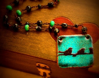 The Birds Necklace enameled copper pendant necklace glass wire bead chain