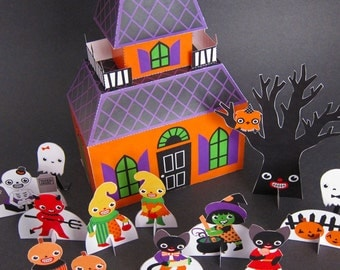 Halloween Haunted House Playset Printable Paper Craft PDF