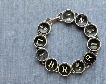 TYPEWRITER Key BRACELET Jewerly Made with Typewriter Keys LIBRARIAN