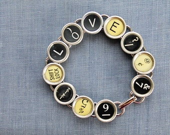 TYPEWRITER Key BRACELET Jewerly Made with Typewriter Keys LOVE