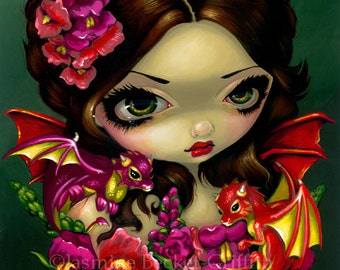 Snapdragon Fairy dragonling flower fairy art print by Jasmine Becket-Griffith 8x10