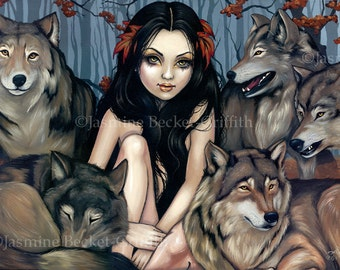 Raised by Wolves feral wolf pack fairy art print by Jasmine Becket-Griffith BIG 12x18