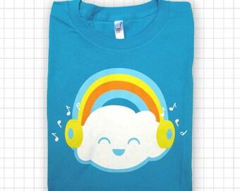 SALE Happy Rainbow Cloud Womens Amercian Apparel T-shirt Teal
