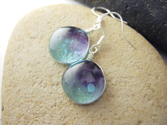 Fused Glass earrings, handmade glass jewelry - Moody blues