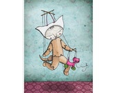 Cat Art Print - Percy the puppet - marionette - Halloween costume