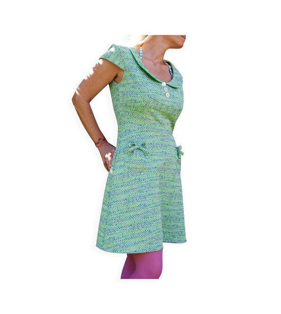 Peter Pan Collar Dress -  Green Vintage Fabric - Adult - UK 12  (38 Bust) M - sweet lolita