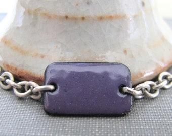 Purple Bracelet, Enamel Bracelet, Enameled Copper, Silver Chain, Chain Bracelet, Violet Rectangle, Geometric Jewelry, Silver Bracelet