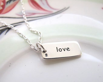 Love Necklace, Silver Necklace, Love Charm, Silver Chain, Silver Jewelry, Silver Heart, Sterling Silver, Chain Jewelry, Chain Necklace,