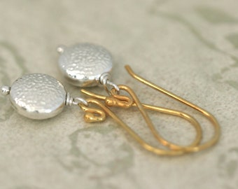 SILVER and GOLD Sterling Silver and Golf Vermeil Drop Earrings