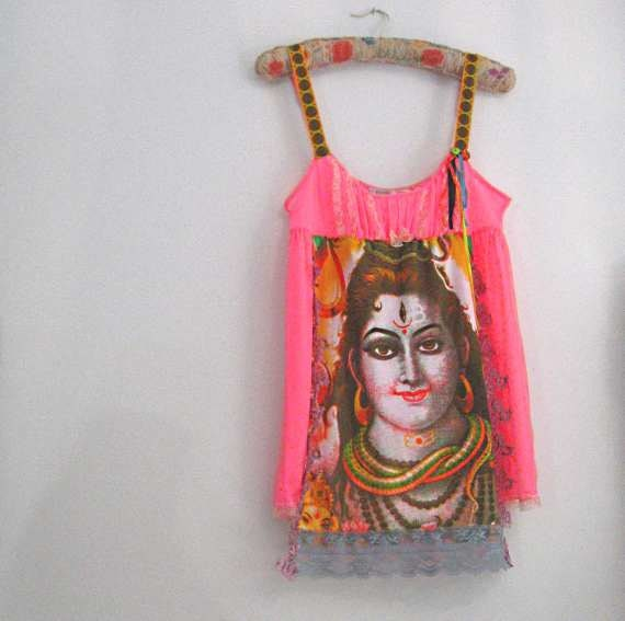RESERVED for LG - SALE - Shiva Dress, Upcycled, Neon Pink, Yellow, Slip, Short, Briefs