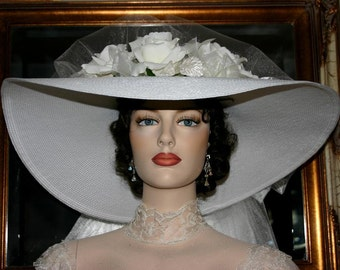 Kentucky Derby Hat Southern Belle Wedding Hat Church Hat Ascot Hat White Hat - My Wedding Day - Wide Brim Hat Womens