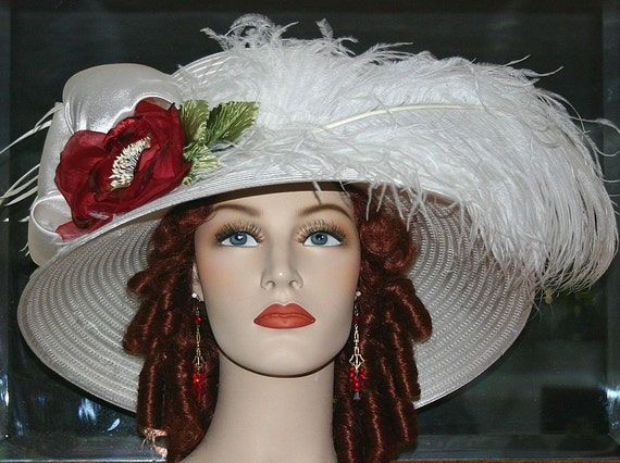 Victorian Style Hats, Bonnets, Caps, Patterns Kentucky Derby Hat Edwardian Hat Downton Abbey Hat Ascot Hat Titanic Hat  Hat Ivory Tea Hat Lady Florence