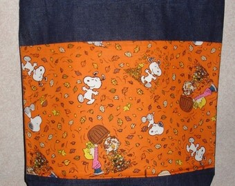 New Large Denim Tote Bag Handmade with Peanuts Snoopy Fall Leaf Leaves Fabric