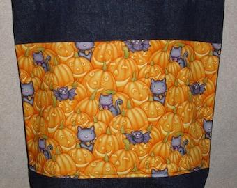 New Handmade Black Cats Pumpkins Halloween Large Denim Treat Tote Bag