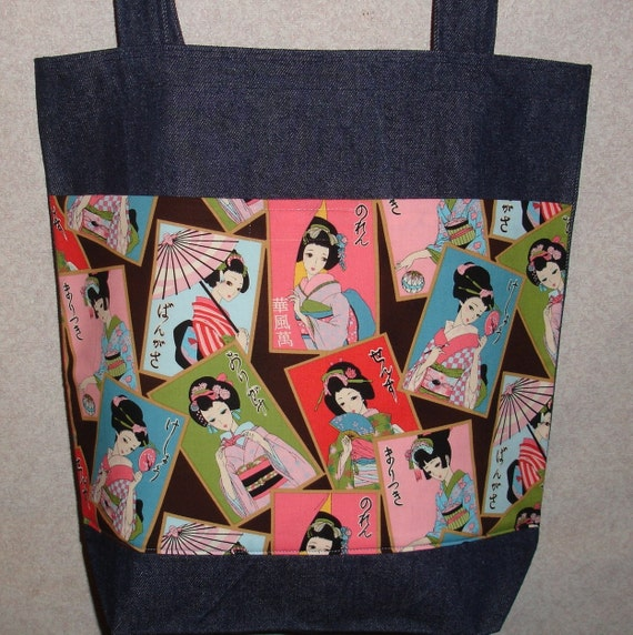 New Large Handmade Japanese Oriental Geisha Portraits Pastel Colors Denim Tote Bag