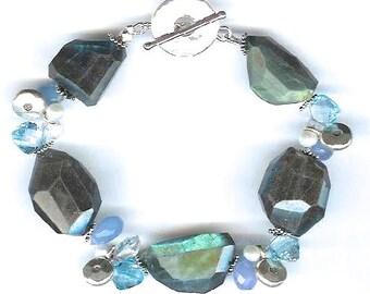 Labradorite And Multi Gem Sterling Silver Barcelet FD298