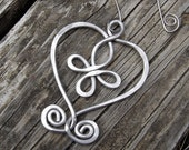 Celtic Heart Cross Valentine's Day Ornament, Aluminum Wire, Holiday Ornament, Home Decor, Hanging Decoration, Rustic Celtic Ornament
