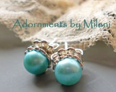 Robin's Egg Pool Blue Earrings Pearl Stud Posts Sterling Silver Light Aqua