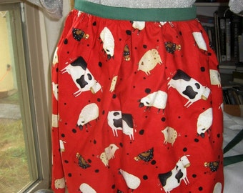Country Apron - Cows Sheep Chickens Pigs