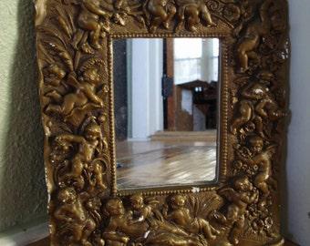 Vintage 1980s Mirror Angels Cherubs Rococo 2012681