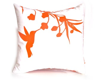 Orange Print on White Cotton Hummingbird with Eucalyptus - Mini 10.5 Inches Square Pillow