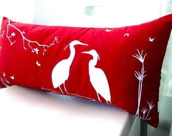 Red Egret Lovers in the Swamp Rectangle Pillow