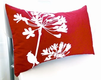 Red Cardinal on Agapanthus Rectangle Pillow