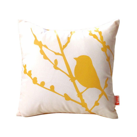 Yellow Print on White Cotton Bird on Cherry Blossom - Mini 10.5 Inches Square Pillow