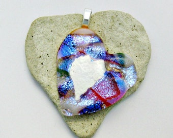 Glow In The Dark Heart Pendant -  Fused Dichroic Glass