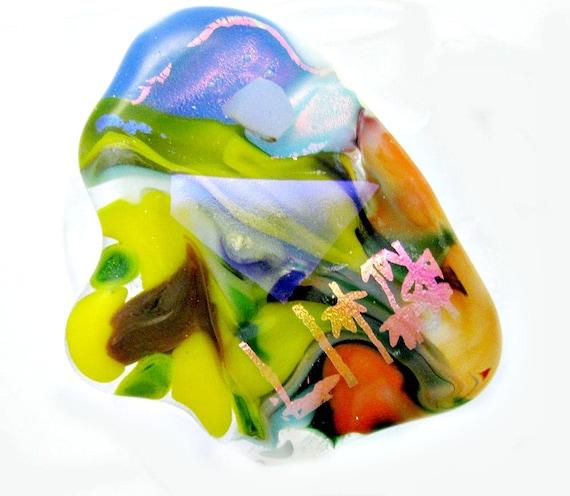 Funky Fused Dichroic Glass Knob