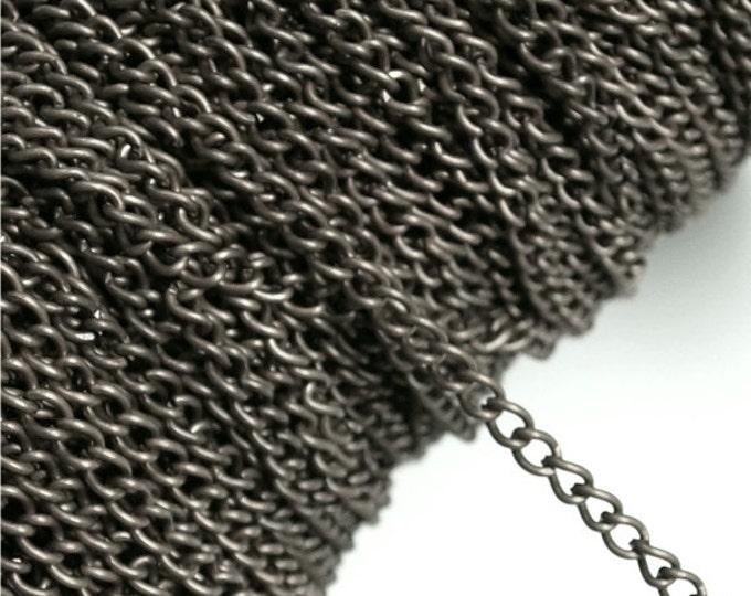 CHIGM-CB40 - Chain, Curb 4mm, Gunmetal - 1 Meter