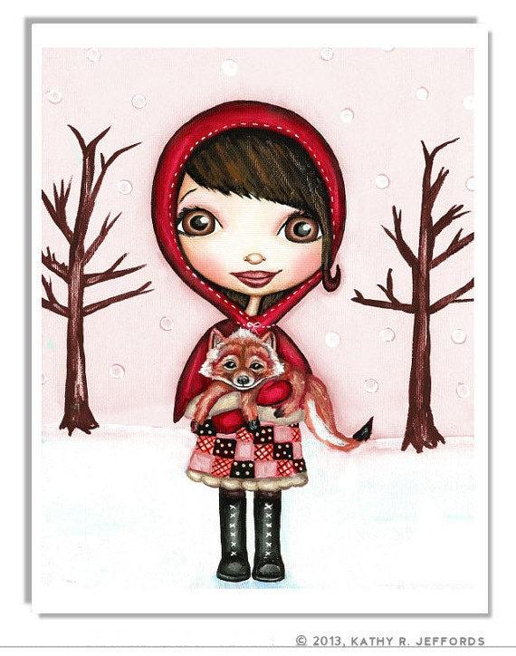 Little Red Riding Hood Print. Big Eyed Art. Whimsical Girls Room Art. Pale Pink Children's Décor. Winter Art. Cute Fairy Tale Art For Kids.