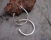 """Fine Silver hand-forged hoops with 1 1/2"""" Diameter"""